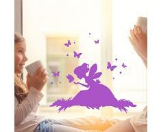 ilka parey wandtattoo-welt® Fensterbild Wandtattoo Fee Elfe auf Wiese mit Schmetterlingen Fenstertattoo Fensteraufkleber Fenstersticker Wandbild Wandaufkleber Wandsticker Aufkleber Sticker M2099 - ausgewählte Farbe: *lila* ausgewählte