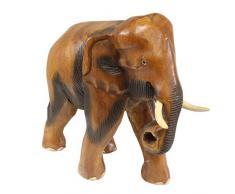 Oriental Galerie Holz Elefanten Figur Stulptur Deko Tierfigur Afrika Handarbeit Dekoration Massiv Braun Klein