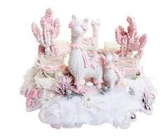 Adventskranz DRAMA LAMA weiß-rosa Luxus Shabby Weihnachtskranz Teelichter Lama Adventsdeko Tischkranz ausgefallene Landhaus Weihnachtsdeko Federkranz Advent