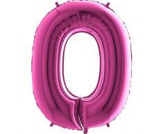 Trendario Folienballon Zahl 0 (Rosa) - XXL Riesenzahl 100cm Ballon - Helium Luftballons für Geburtstag, Partydeko, Hochzeit (Zahl 0, Silber)