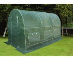Nexos Foliengewächshaus Tomatenzelt Gewächshaus Treibhaus 9m² Grundfläche 2m x 4,5m, Höhe 2m, UV - beständige PE-Gitter Folie witterungsbeständig, 2 Eingänge, 6 Fenster, Frühbeet Tomatenhaus