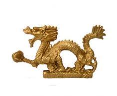 Egurs Chinesische Drache Statue Drachenfigur Skulptur aus Messing Wohnzimmer Büro Dekoration,12 x 2.3 x 7cm