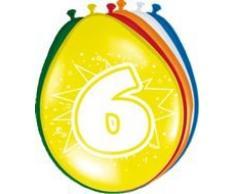 Folat Ballon bunt Luftballons Zahl 6 Geburtstag 8 St. Deko Ballons Party