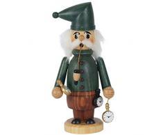 OBC Räuchermännchen Uhren-Händler grün-gebeizt, 18 cm, Dekofigur Handbemalt im Erzgebirge - Stil/Räuchermann / Räucherfigur aus Holz