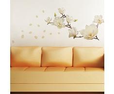 Walplus 107x42 cm Wandsticker Kleine Blumen Ablösbar Selbstklebend Wandbild Kunst Aufkleber Home Dekoration Wohnzimmer Schlafzimmer Büro Tapete Kinderzimmer Geschenk Weiß