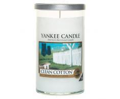 Yankee Candle Stumpenkerze Kerze im Glas, Duft: Clean Cotton, weiß, M