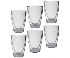 Feelino Lattechino doppelwandige Latte Macchiato-Gläser, 6er-Set 300ml XL Thermo-Gläser mit Schwebe-Effekt im Geschenkkarton