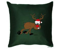 Weihnachten Geschenk Idee Kissen mit Innenkissen - Papa RENTIER RUDOLPH mit der roten Nase Advent Deko 40x40cm grün : )