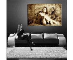 Bild auf LEINWAND AKT EROTIK GIRL abstrakt verschiedene Größen wählbar!!! gerahmt fertig auf HOLZRAHMEN Kunstdruck Wandbild auf Rahmen günstiger als Ölbild Gemälde/Poster/Plakat/kein Poster oder Plakat (100x70cm sephia)