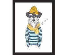 Kunstdruck glossy paper Kunstblatt Poster Farbdruck Wandfoto Plakat Maritim Hund mit Pfeife (A4)