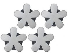 Unbekannt 4 magnetische Tischdeckenbeschwerer Tischdeckengewichte Tischtuch-Halter mit Magnet, Silber (Blüte)