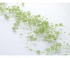Perlengirlande hellgrün 5 Stück á 1,3m Tischdeko Hochzeit Taufe Weihnachten
