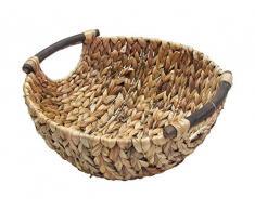 Deko Schale Wasserhyazinthe mit braunen Holzgriffen , größen:mittel