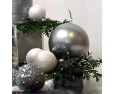 9x silberne Dekokugeln Weihnachten silber mit Glitter 3cm Adventskranz Gesteck Basteln Schmuck Tannenbaum Dekobälle