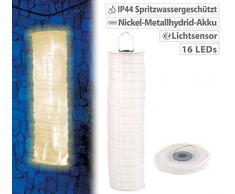 Lunartec Solar Lampion: Solar-Lampionschlauch mit 16 LEDs, Dämmerungs-Sensor, IP44, kaltweiß (LED Lampion)