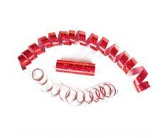 Rote Metallic Luftschlangen im 5er Sparpack - 5 Rollen mit je 18 holografisch-glitzernden Luftschlangen - für Karneval, Fasching, Geburtstag, Silvester, Dekoration - PARTYMARTY GMBH®