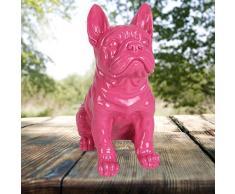 1a-Handelsagentur Dekofigur Französische Bulldogge 29cm Tierfigur Gartendeko Wachhund Dekohund, Farbe:pink