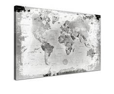 Lana KK - Weltkarte Retro Hellgrau mit Kork Rückwand - edel Leinwand Bild Kunstdruck auf Keilrahmen, Pinnwand für Weltenbummler 150 x 100 cm, dreiteilig