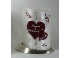 Hochzeitskerze mit Teelichteinsatz Oval 19/13 cm, Silber - 1327 - mit Namen und Datum - Perlmutt-Struktur - Kerze zur Hochzeit - Brautkerze - Herz