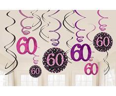 FesteFeiern Dekoration zum 60 Geburtstag | 13 Teile mit Swirl Spiralen und Tischkonfetti pink schwarz violett | Geburtstags Deko 60 happy birthday