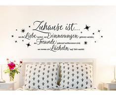 Wandsticker-Günstig E004 Wandtattoo Zitat Zuhause ist wo die Liebe wohnt ... Wandaufkleber schwarz (BxH) 173 x 58 cm