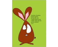 Im 5er Set: Lustige illustrierte Osterhasen Osterkarte in grasgrün mit Spruch