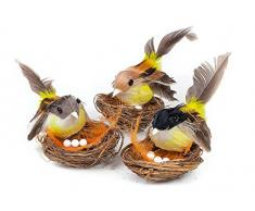 3er-Set VBS Vogel im Nest ca. 7x8cm Osterdeko Ostern Strohnest Kränze