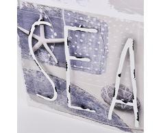 Wandbild 3D Maritim Muscheln Metall Design Kunstdruck 40x40cm grau blau (Motiv 1)