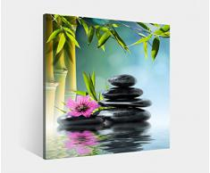 Leinwand 1Tlg bis 100cm Zen Steine Wellness Bambus Feng Shui Leinwandbild Bilder 9K998 Holz - fertig gerahmt - direkt vom Hersteller, BxH Bild:80cmx80cm