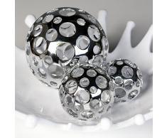 Dekokugel Dekoration Kugel Holes silberfarben Durchmesser 8 cm