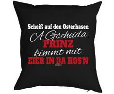 Ostergeschenke Kissen zu Ostern mit Innenkissen für das Osternest Osterdeko lustiges Motiv auf boarisch PRINZ EIER 40 x 40 cm in schwarz : )