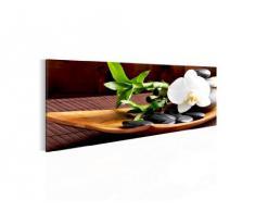 Bilder Feng Shui Orchidee Wandbild 100 x 40 cm Vlies - Leinwand Bild XXL Format Wandbilder Wohnzimmer Wohnung Deko Kunstdrucke Braun 1 Teilig - Made IN Germany - Fertig zum Aufhängen 502312a