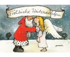 Janosch WeihnachtsPOSTkarte Weihnachtsmann küsst Engel