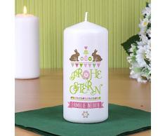 Herz & Heim® Osterkerze - Frohe Ostern - mit Aufdruck Ihres Wunschtextes