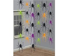 6-teiliges Decken-Deko Set * SPINNEN * für Halloween oder eine Motto-Party // Kindergeburtstag Feier Fete Strings of Spiders Spinne Horror Grusel Oktober