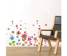Walplus Wandsticker Farbenreich Blumen und Schmetterlinge Premium, 50cm x 70cm, PVC