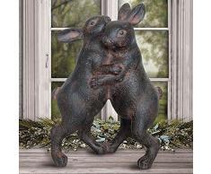 Gartenfigur Hasenpaar Osterdeko Kaninchen Dekohase Tischdeko Dekofigur Polyresin