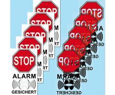 Set Aufkleber Sticker 4cm Warnung Hinweis STOP Alarm gesichert gespiegelt für Innenseite Fenster Scheibe (5)