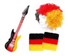 Alsino 4-teiliges Deutschland Fanartikel Fanpaket Set - ideal für Public Viewing, mit Afro Perücke, Schweißbändern und Luftgitarre FP-41
