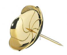 Kranzteller 4, Kerzenstecker Lotos in poliertem Gold, Durchmesser 8 cm mit abschraubaren Dorn für Gestecke und Adventskranz