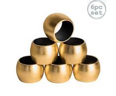 Serviettenringe - rund - Goldfarben - 6 Stück