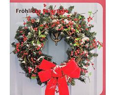 Weihnachtskarte Glückliche Feiertage Türkranz mit Schleife