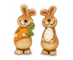 2 x Dekofigur Osterhase Hase Mädchen & Junge im Set aus Polystein bunt, 15 cm groß, Osterdeko Osterfigur witzige Figur für den Garten für Frühling und Ostern