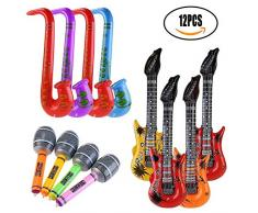 Aufblasbares Rock Star Spielzeug Set-12 Stück Aufblasbare Party Props-4 Aufblasbare Gitarre 4 Mikrofone 4 Saxophon Für Party Favors Ballons Zufällige Farbe