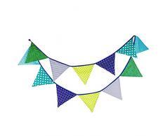 G2PLUS 10 Fuß Colored Wimpel mit 12 Stk Wimpeln, Süße Girlande Wimpelkette Farbenfroh Bunting Wimpeln für Draußen (Blau)
