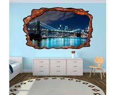 3D Wandmotiv Brooklyn Bridge Manhattan New York Skyline Wandbild USA Brücke Wandtattoo Wohnzimmer Wand Aufkleber 11E276, Wandbild Größe E:98cmx58cm