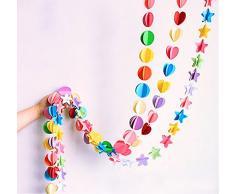 Oblique Unique® Deckenhänger 3D Girlande Bunt - hängende Papiergirlande Banner Deko - Motiv wählbar (Rund Bunt)