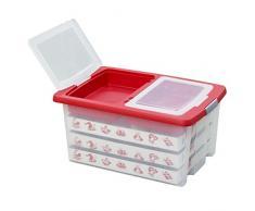 Aufbewahrungsbox für Christbaumschmuck - bis zu 72 Kugeln und Zubehör - 1 Box mit 51 Liter + 1 Deckel mit Einlegern