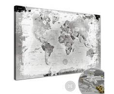 LANA KK Weltkarte Retro Hellgrau mit Kork Rückwand - edel Leinwand Bild Kunstdruck auf Keilrahmen, Pinnwand für Weltenbummler 120 x 80 cm