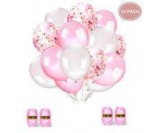Sinwind 50 Stück Luftballons Rosa Konfetti Ballons Rosa und Weiß für Hochzeit und Geburtstag,Graduierung,Party, Weihnachten, Brautgeschenke, Baby-Duschen, Valentinstag (Pink + Weiß) 30cm